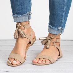6282730e56d3 Women Pu Sandals Casual Lace Up Tassel Shoes - JustFashionNow.com Latest  Shoe Trends