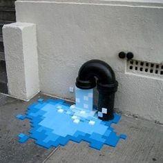 Flooding? Via @arts_gate #streetart #creativity #urban #imagination #pixels #flood