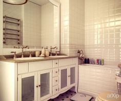 Запах солнца. Квартира в Москве: интерьер, квартира, дом, санузел, ванная, туалет, французский, прованс, 0 - 10 м2 #interiordesign #apartment #house #wc #bathroom #toilet #french #provence #010m2 arXip.com