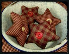 Items similar to Primitive Homespun Star Ornies-Bowl Fillers on Etsy Primitive Stars, Primitive Folk Art, Primitive Crafts, Primitive Christmas, Country Primitive, Country Christmas, Handmade Christmas, Christmas Crafts, Christmas Ornaments