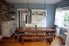 Dining room tables farmhouse style with antique sideboard | Decolover.net