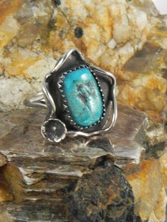 Native American Pawn Turquoise Ring by hollywoodrings on Etsy