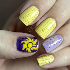 The Nail Network: Disney Princess Nail Art Series: Rapunzel i-want-to-get-my-nails-did Love Nails, How To Do Nails, Fun Nails, Aycrlic Nails, Coffin Nails, Disney Nail Designs, Cute Nail Designs, Disney Princess Nails, Princess Rapunzel