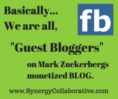 """When I offer people a way to make money BLOGGING, they often say... """"I don't have time to blog."""" YET.. they are blogging on Facebook almost everyday."""