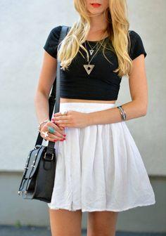 high waisted skirt and short shirt
