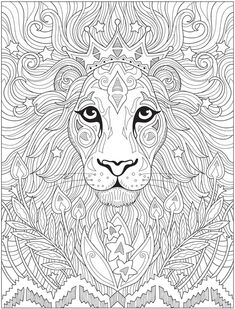 Welcome to Dover Publications Lion Coloring Pages, Detailed Coloring Pages, Pattern Coloring Pages, Cat Coloring Page, Printable Adult Coloring Pages, Mandala Coloring Pages, Coloring Books, Adult Coloring Book Pages, Art Plastique