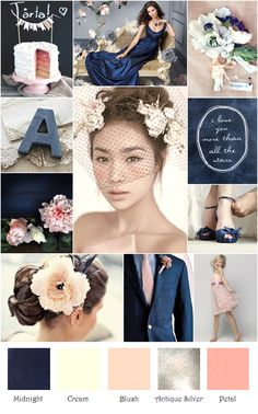 Love the idea of adding navy blue to my colors!!  Navy Blush Cream Gray Silver Rustic Inspiration Board