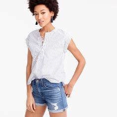 Lace-up popover in stripe : Women just in | J.Crew