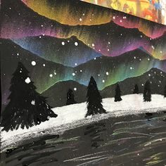 Elements of the Art Room Beautiful winter STEAM! Northern Lights, Aurora Borealis Elements of the Art Room Beautiful winter STEAM! Club D'art, Art Club, Winter Art Projects, School Art Projects, Art Projects Kids, Winter Landscape, Landscape Art, Landscape Edging, Landscape Lighting