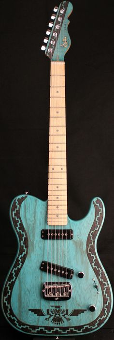 "G&L Guitars ASAT® Special Deluxe ""Santa Fe"", Custom engraved/branded Swamp Ash body, Custom artwork by Johnny Garcia - I want it!"