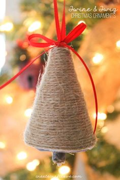 Christmas DIY: Illustration Description Lovin' the rustic look of these Twine and Twig Christmas Ornaments! Cowboy Christmas, Rustic Christmas, Simple Christmas, Handmade Christmas, Christmas Holidays, Christmas Ideas, Christmas Ornament Crafts, Christmas Tree Decorations, Holiday Crafts