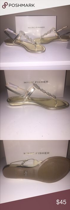 Marc Fisher Gold Sandals Brand new leather sandals. Never worn! Didn't return them on time! My loss is your gain! Marc Fisher Shoes Sandals
