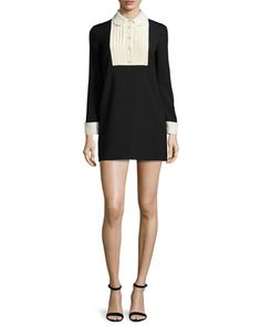 Long-Sleeve Two-Tone Mini Dress by RED Valentino at Bergdorf Goodman.
