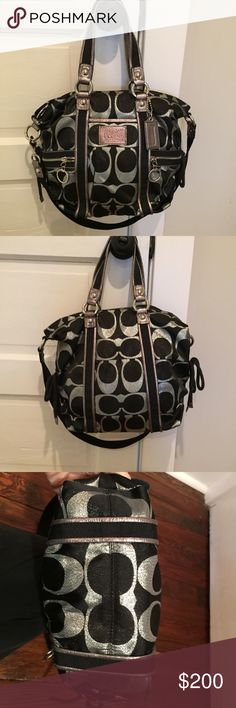 Authentic Coach Poppy Edition EUC Authentic Coach Poppy Edition Silver Metallic/Black exterior with smooth shiny purple interior!! Gorgeous, lightweight, and spacious!! Perfection! Coach Bags