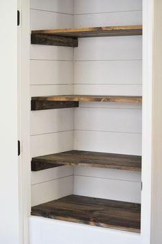 Farmhouse Pantry Makeover via Little Glass Jar.   Turn shelves crosswise in pantry.  Create walk in /broom storage.
