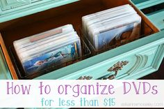I'm kicking off a new organizing series and we're starting with how to organize DVDs. We own 52 DVDs but you'd never know it by how little space they take up!