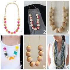 five easy wooden bead necklace tutorials, True Blue Me and You