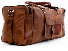 Large Rugged Leather Duffle Bag Garment Bag by sunshineartist16, $64.00