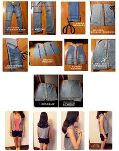 DIY turn old jeans to vest