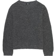 UNIQLO Mohair Blend Oversized Sweater found on Polyvore featuring tops, sweaters, long sleeves, long loose sweaters, loose fitting sweaters, drape top, drapey sweater and over sized sweaters