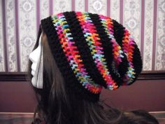 Teen Adult Rainbow Black Slouch Hat Slouchy by MarlowsGiftCottage, $21.00