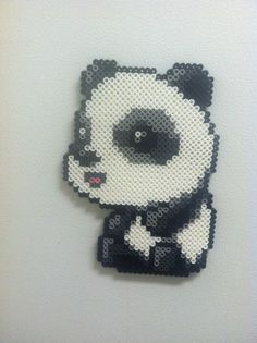 oso panda con hama beads, hama mini, perler, etc