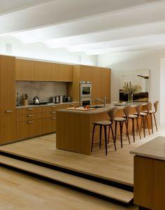 luces led  en la cocina de madera