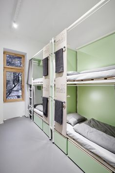 Image 23 of 27 from gallery of FLOW Hostel / Partizan Architecture. Photograph by Balázs Danyi Condo Interior, Home Interior Design, Dorm Room Layouts, Dormitory Room, Hostels, Discount Bedroom Furniture, Bunk Bed Designs, Cool Beds, Home Improvement Projects
