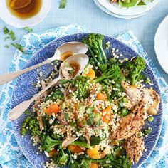 This smoked mackerel and giant couscous salad is packed full of good-for-you ingredients and can be ready in less than 30 minutes - http://www.goodhousekeeping.co.uk/food/recipes/smoked-mackerel-and-giant-couscous-salad