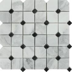 Bianco Mare Honed Marble Octagon Mosaic Tile w/ Black Dots Sample Hexagon Mosaic Tile, Stone Mosaic Tile, Marble Mosaic, Mosaic Glass, Calacatta Gold Marble, Best Floor Tiles, Glass Subway Tile, Wood Look Tile, Decorative Mouldings