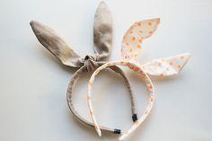 Orange dot and tan linen bunny ear headbands for Easter