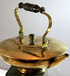 Antique S And C Trademark  Brass Tea Kettle Wood Handles #SC