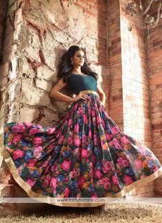 Attractive Banarasi Multi Colour Floral Anarkali Suit #Banarasi #SalwarSuit…