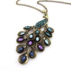 Retro Bronze Peacock Multi Sequin Long Pendant Necklace (Neclace): Jewelry