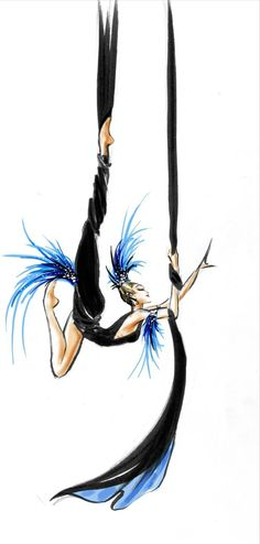 aerial silk dancer // costume sketch from the Mugler Follies // costume design by Manfred Thierry Mugler