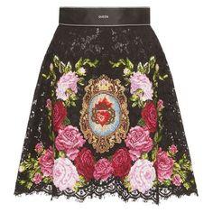 Dolce Gabbana Lace Mini Skirt  liked on Polyvore featuring skirts, mini skirts, mini skirt, high waisted short skirts, short floral skirt, short lace skirt and high waisted lace skirt