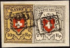 "Switzerland 1850, 2½ Rp. ""Poste locale"", with framed cross, type 16 (large margins all around) with 10 Rp. black / orange red on yellow, brick A1-O, typ..."