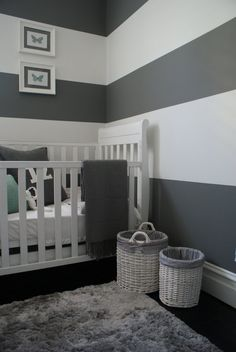 Grey and white stripes. - 125 Chic-Unique Baby Nursery Designs - Style Estate -