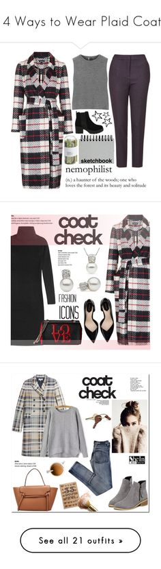 """""""14 Ways to Wear Plaid Coats"""" by polyvore-editorial ❤ liked on Polyvore featuring waystowear, plaidcoats, Topshop, Crate and Barrel, Paperchase, DKNY, Zara, Love Moschino, contestentry and pearljewelry"""
