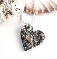 Valentines gift for women Heart pendant handmade by KilnFiredArt