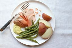 Poached Salmon with Beans + Basil Mayonnaise, a recipe on Food52