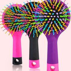 1pcs Rainbow Volume Anti-static Magic Hair Straight brush Massage Comb with Mirror  (B208)