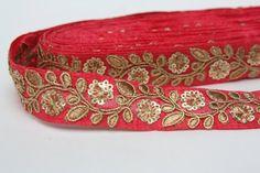 Sanskriti Vintage Sari Border Indian Craft Dark Red Trim Hand Beaded Kundan Lace Fixing Prices According To Quality Of Products Trim & Edging