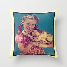 BABY CHICKS/VINTAGE Throw Pillow
