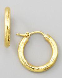 Elizabeth Locke Small Hammered Gold Hoop Earrings