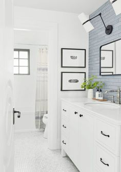 Bathroom Decor Reveal Alert: How I Transformed the Dark & Dull Downstairs Guest Bath in the Portland Project Reveal Alert: How I Transformed the Dark & Dull Downstairs Guest Bath in the Portland Project - Emily Henderson Guest Bathrooms, Upstairs Bathrooms, Bathroom Renos, White Bathroom, Bathroom Renovations, Master Bathroom, Home Remodeling, Bathroom Ideas, Small Bathrooms