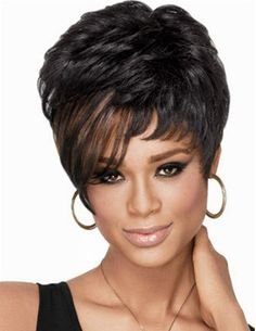 Short Curly Side Bang Stylish Synthetic Brown Highlight Capless Wig