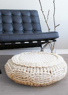 Ravelry: Crochet Cable Footstool Cover for Ikea's Alseda Footstool pattern by Erin Black