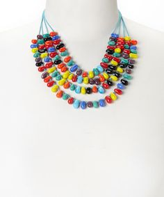Love this Rainbow Beaded Multi-Strand Necklace by ZAD on #zulily! #zulilyfinds