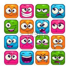 bouche: Carré coloré grimaces ensemble, les avatars de vecteur de bande dessinée